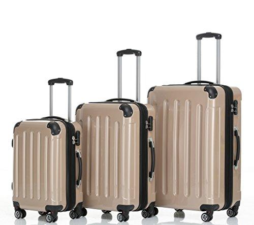 Beibye – Juego de 3 maletas rígidas (tamaños XL, L y de mano), color lila