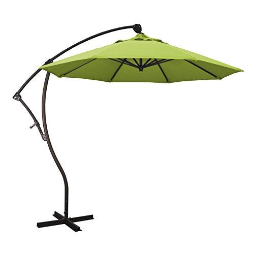 California Umbrella 9' Round Aluminum Cantilever Umbrella, Crank Lift, 360 Rotation, Bronze Pole California Cantilever Umbrella