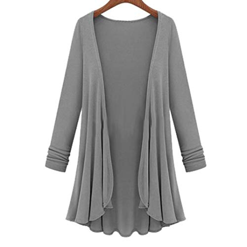 LisYOU Womens Kimono Cardigans Solid Blouse Irregular Wrap Casual Coverup Tops(3XL,Gray) -