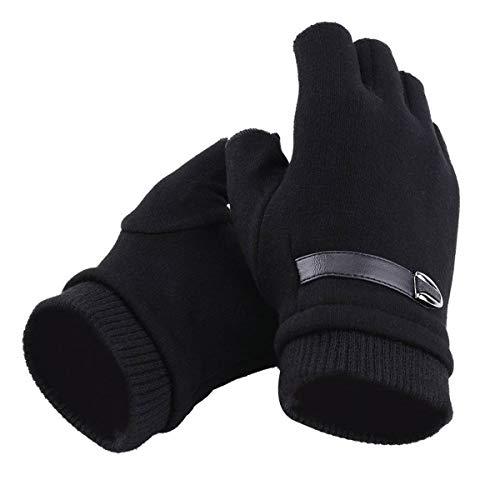 Evaliana Fingerless Fleece Lined Cold Weather Gloves Half Finger Work Driving Thermal