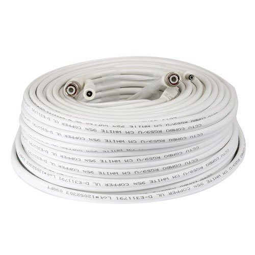- GW Security Premade 60ft RG59 Combo Siamese CCTV Coaxial Cable White for HD-SDI Camera System with BNC Connector and 2.1mm Power Connector (White)