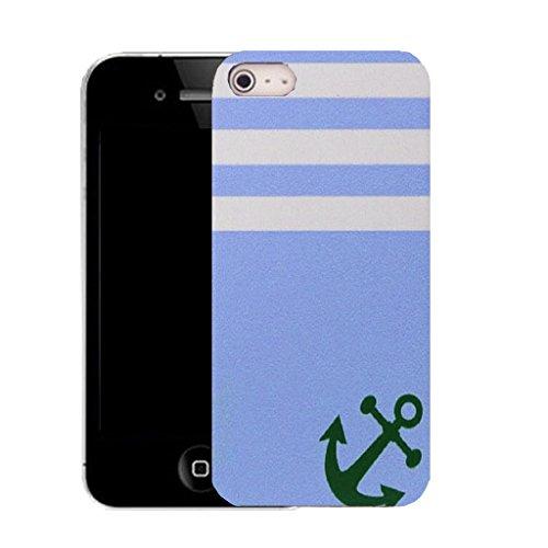 Mobile Case Mate IPhone 4 4S clip on Dur Coque couverture case cover avec Stylet - baby blue anchor Motif
