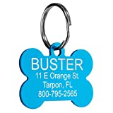 Pet ID Tags - 8 Lines of Engraving Available | Size Small or Large | Bone, Round, Star, Heart, Hydrant, Paw, Cat Face | 9 Colors | Dog Tag, Cat Tag, Personalized, Anodized Aluminum