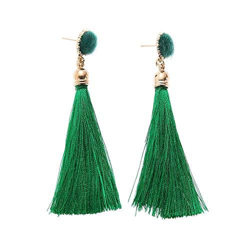 Layered Tassel Earrings,Bohemian Dangle Drop Tiered Tassel Druzy Stud Long Dangling Tiered Thread Earrings Women Gifts (Green)