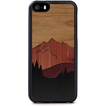 Carved Mount Bierstadt Inlay - iPhone SE Traveler Wood Case - Black Protective Bumper with Real All Wooden Cover