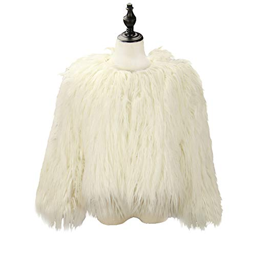 Used, Dikoaina Women's Solid Color Shaggy Faux Fur Coat Jacket for sale  Delivered anywhere in USA