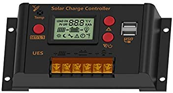 Light Control Time Control and Night Setting 12V // 24V Auto 10A PWM Intelligent Solar Panel Regulator with LCD and Dual USB fit for Lithium and Lead-Acid Battery UEIUA Solar Charging Controller