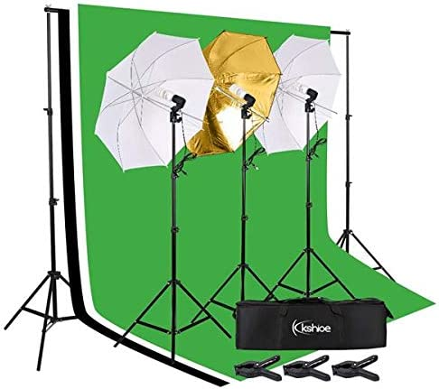 ilovo 45W Photo Photography Umbrella Lighting Kit Studio Light Bulb Non-Woven Fabric Backdrop Stand