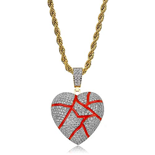 (TOPGRILLZ Iced Out Lab Premium Simulated Diamond Bling Bubble Broken Heart Pendant Necklace Chain for Men Women Fashion Jewelry Gifts (Broken Heart Red))