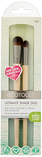 Ecotools Cruelty Free and Eco Friendly Ultimate Shade Duo Made with Recycled and Sustainable Materials; Compact, Custom Cut Brushes
