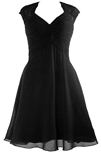 Dress Chiffon MACloth Bridesmaid Schwarz Lace Cocktail Cap Women Dress 2017 Sleeve Short RIIqvHnFw