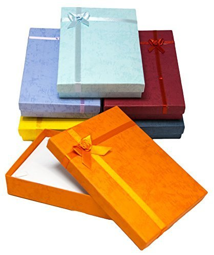 Novel Box Cardboard Jewelry Necklace Gift Boxes With Rosebug Bows in Assorted Colors 5X7.1X1.3