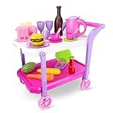 Carrito de servicio de color rosa. Este carro de cocina está equipado con un hervidor para el agua, una tostadora, platos, cubiertos, tacitas y alimentos de juguete. Incluye