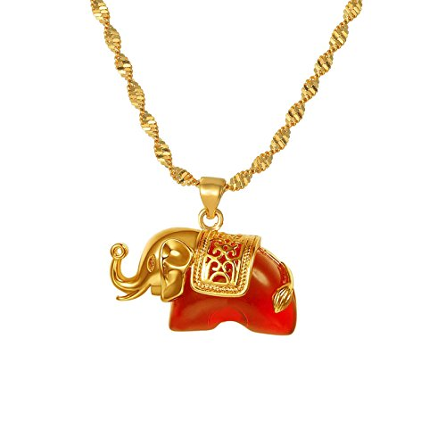 CULOVITY Gold Filled Elephant Pendant Necklace - Red Crystal Twisted Singapore Chain Jewelry for Women Girls ()