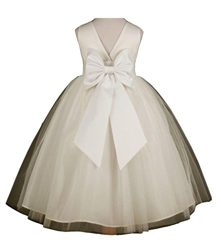 Flower Girl's Ivory Wedding Pageant V-Back Ankle Length Tulle Dress