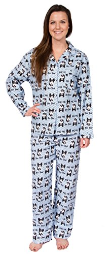 Leisureland Women's Cotton Flannel Sleep Pajama Sets Bow Wow! Dog Design (Print Cotton Dog Collar)