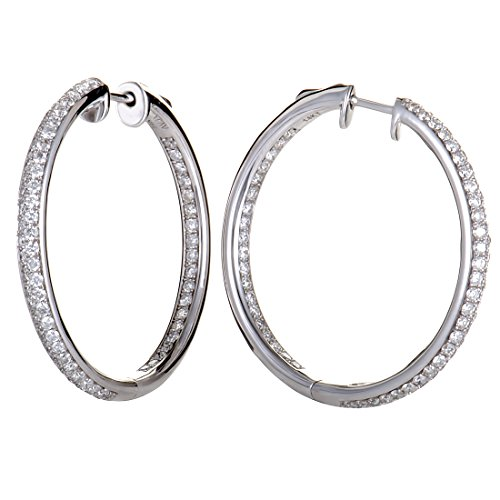 1ct 14K White Gold Diamond Pave Round Hoop Earrings