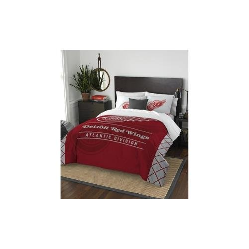 Officially Licensed NHL Detroit Red Wings Draft Full/Queen Comforter and 2 Sham Set (Lightning Bay Bedding Tampa)