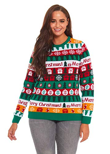 Mens Ugly Christmas Sweater Funny Xmas Tree Gift Pullover Colour