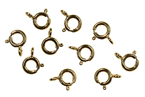 10 14K Gold-Filled Spring Ring Round Clasps Open Ring 7mm (10) 14k Yellow Gold Spring Ring