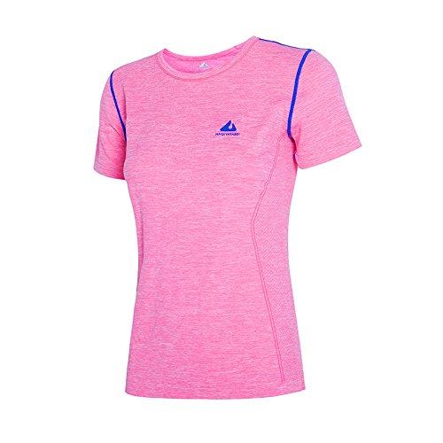 Tank Quick dry s T shirt Da Girocollo Sportiva Vest Yoga Slim Jianshenyi Pink L Corta Donna Manica BwvxOU