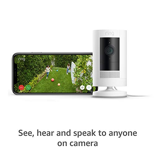 All-new Ring Stick Up Cam Plug-In HD security camera with two-way talk, Works with Alexa – 3-Pack