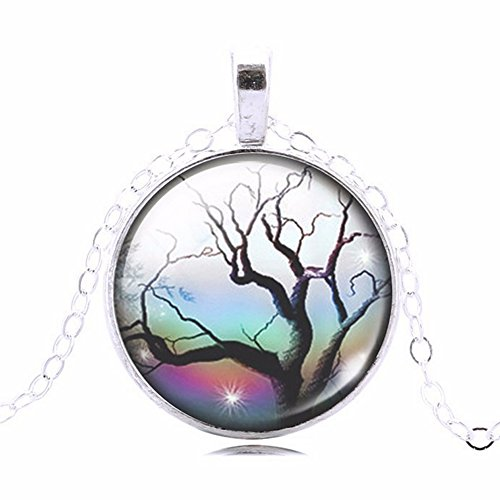 Multi-Colored Rainbow Sky Northen Star Glass Cabochon Art Picture Pendant Necklace, 20 - 22 - Glasses Sillouette