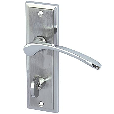 DRAYTON Internal Door Handle Pair Lever On Plate In Chrome / Satin / Dual  Finish Bathroom