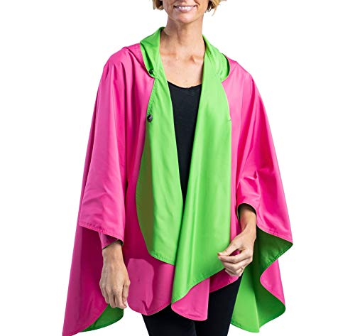 RainCaper Rain Poncho for Women - Reversible Rainproof Hooded Cape in Gorgeous Ultrasoft Colors (Hot Pink/Lime Green)