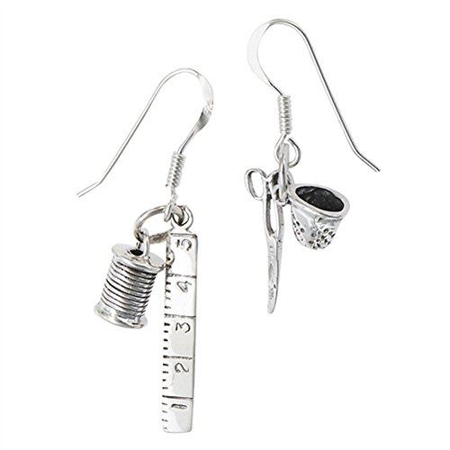 Sewing Kit Craft Lover Spool .925 Sterling Silver Scissors Dangle Thimble Earrings