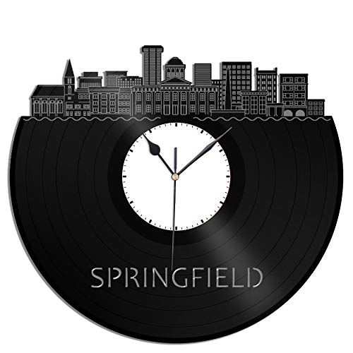 VinylShopUS - Springfield IL Vinyl Wall Clock City Skyline Unique Gift for Office and Bedroom | Home Decoration -