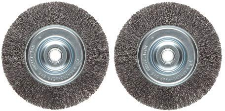 Weiler Vortec Pro Narrow Face Wire Wheel Brush, Round Hole, Carbon Steel,  Crimped Wire, 6