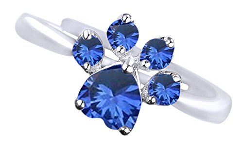 Sapphire Dog Ring - AFFY Simulated Blue Sapphire Adjustable Dog Paw Ring in 14k White Gold Over Sterling Silver