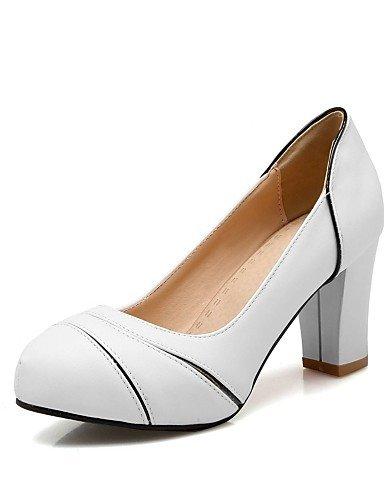 BGYHU GGX/Damen Schuhe PU Sommer-/, Round Toe Heels Büro & Karriere/Casual geschoben Ferse Split Gemeinsame Schwarz/Pink/Weiß/Beige pink-us5 / eu35 / uk3 / cn34