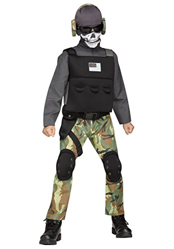 Fun World Big Boy's Med/Skull Soldier Chld Cstm Childrens Costume, Multi, Medium