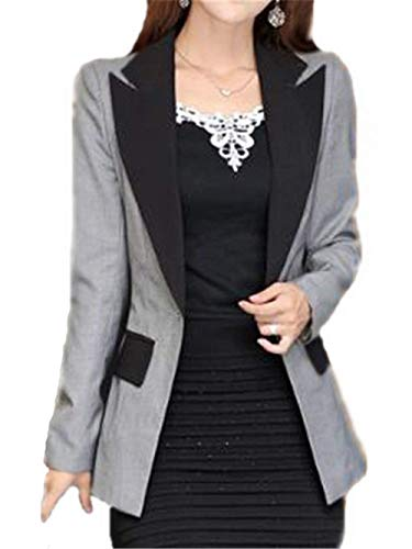 Haute Moderne Manches Femme Qualit Manteau Affaires Automne Printemps Slim Coat Style Fit De Office Blazer Longues Vintage Gris Casual Costume Outerwear lgant Mode UwfnCvqa