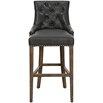 This item TOV Furniture The Uptown Collection Modern Leather Upholstered Wood Kitchen Bar Stool With Back Gray