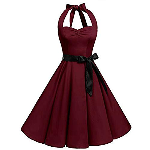 Women Sleeveless Halter Dress Solid color Zipper Dress Hepburn style Dress Vintage Swing High-Waist Pleated Dress -