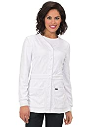 Koi Lite Women's Claire Button Front Solid Cardigan Scrub Jacket Small White