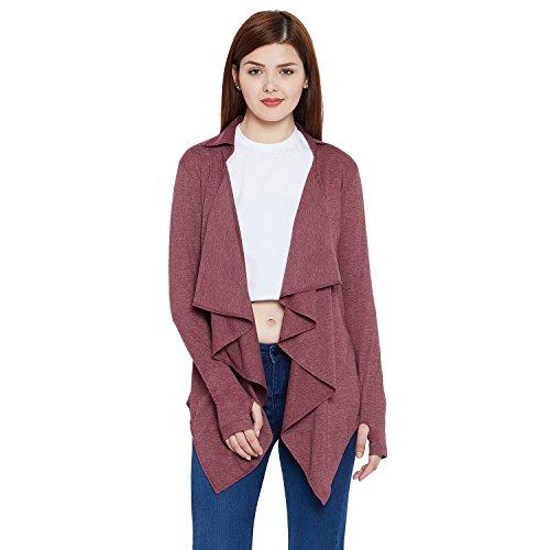 HYPERNATION Maroon Melange Color Cotton Blend Shrug for Women HYPW02194