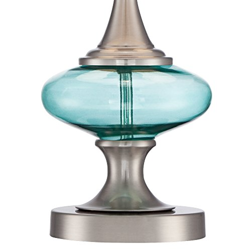 Reiner Brushed Steel and Blue-Green Glass Table Lamp by 360 Lighting (Image #3)