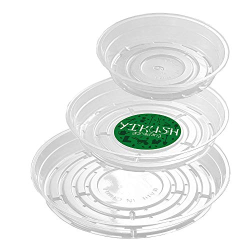 YIKUSH Clear Plant Saucers 18 Pack (6 inch / 8 inch /10 inch Flower Pot Tray Excellent for Indoor & Outdoor Plants