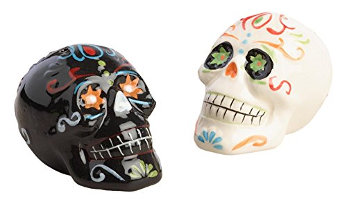 World Market Ceramic Salt and Pepper Shakers Set - Skull Day of the Dead Los Muertos | Spices Dispenser | Perfect for your Favorite Pepper, Kosher, and Himalayan Salts, Set of 2, Black & White -