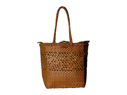 Loeffler Randall Women's Maya Woven Tote, Timber Brown/Leopard, One Size