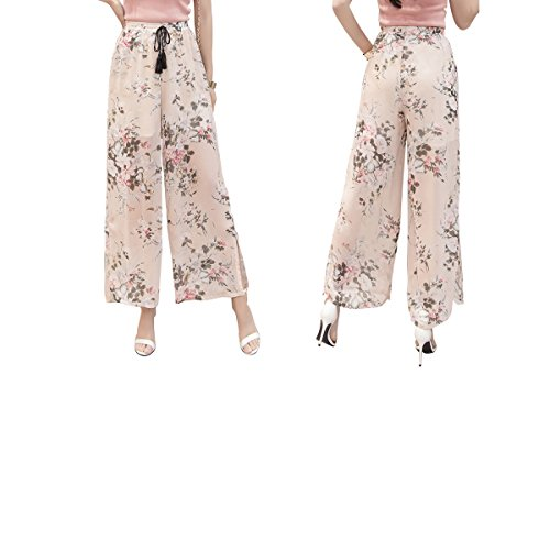 yiboolai Loose Trousers for Women Wide Leg Pants Pleated Chiffon Pants, Foundation Flower, XX-Large - Classic Wide Leg Trousers
