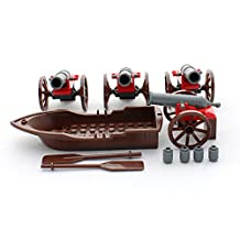 Building Block Pirate Row Boat with Oars and 4 Spring Loaded Cannons