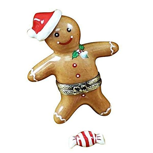 SANTA GINGERBREAD MAN W/ 3D AND PEPPERMINT CANDY - LIMOGES BOX AUTHENTIC PORCELAIN FIGURINE FROM (Limoges Candy)