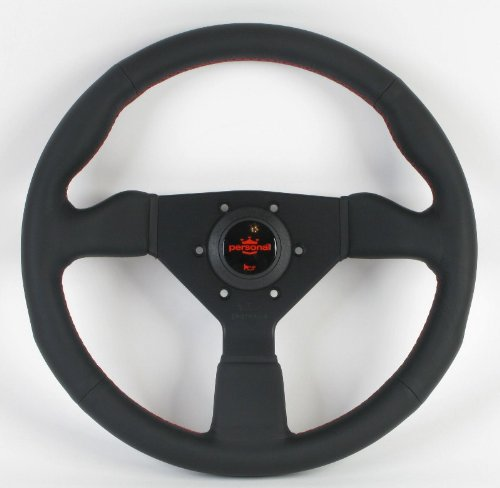 Personal Steering Wheel - Personal Steering Wheel - Neo Grinta - 330mm (12.60 inches) - Black Leather with Black Spokes/Red Stitching and Red Logo - Part # 6497.33.2090