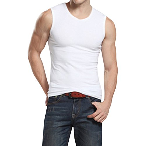 Pishon Men's Sleeveless Tee Shirts Casual V-neck/Crew Neck Fitted Muscle T-Shirt, White Crew Neck, Tag Size 3XL=US Size L