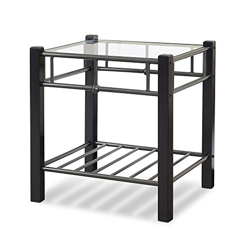 - Fashion Bed Group Leggett & Platt 54901N Scottsdale Metal and Wood Nightstand with Glass Surface, Black Speckle Finish, Twin